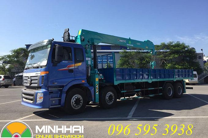xe tải thaco auman 4 chân gắn cẩu hktc 12 tấn