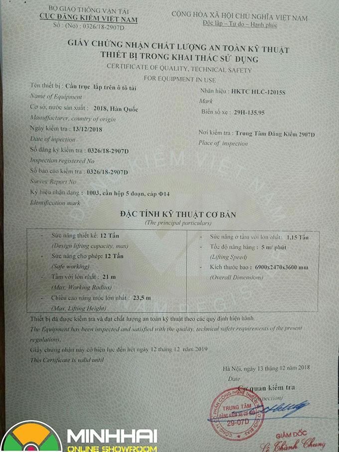 giấy chứng nhận an toàn kỹ thuật cần cẩu tự hành